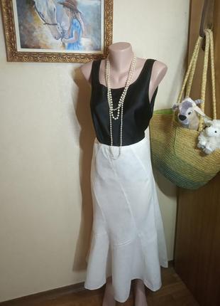 Белая юбка лен колокольчик
