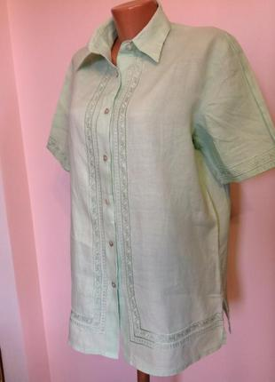 Салатовая  леновая блузка- рубашка/xl/ brend fabiani