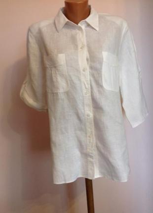 Белая леновая рубашка/xl/ brend erfo