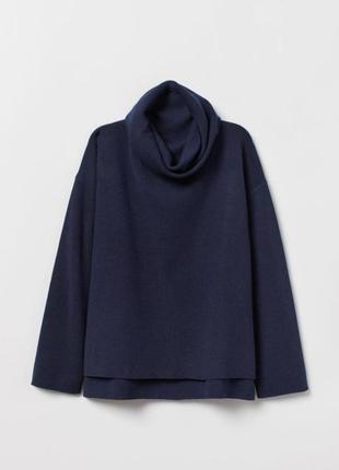 Стильный свитер свободного кроя с воротником хомутом h&m на зиму весну