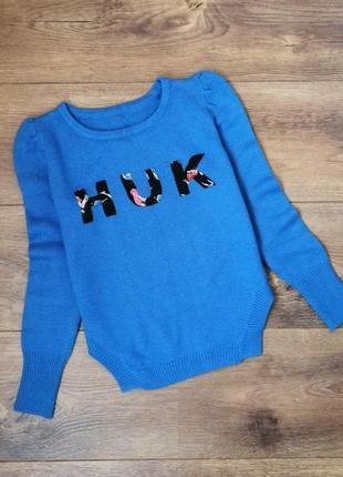 Синий свитер с надписью 🌺