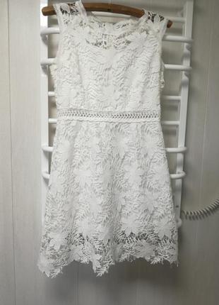 Летние платье нежное белое кружевное платье