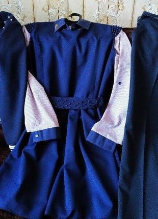 Костюм,комплект,школьная форма,бомбер,сарафан,брюки,блузка 10-13 лет