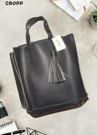 Вместительная сумка из эко-кожи и эко-замши cropp town