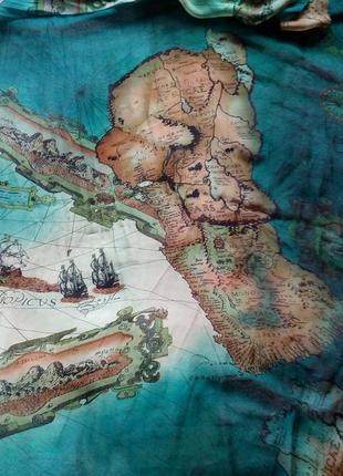 Невесомый шёлковый шарф карта африки,195*66см.