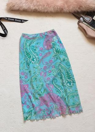 Стильная яркая летняя винтажная юбка сетка в принт рисунок от lerros