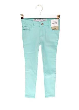 Последний размер модные мятные джинсы skinny на девочку 110 р, denim co