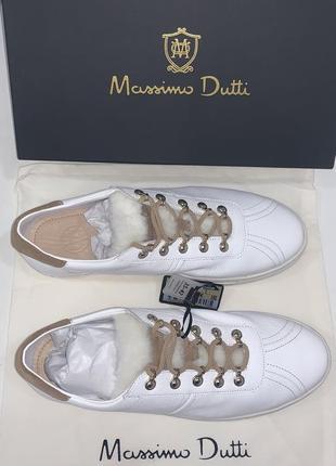 Эксклюзивные кроссовки с мехом massimo dutti размер 41! натуральная кожа
