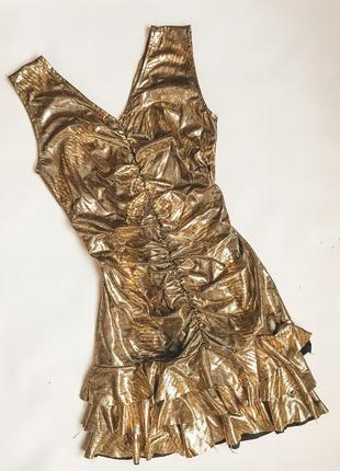 Коктейльное вечерние платье золото золотое платье