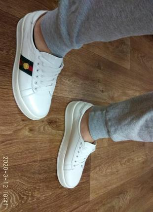 Кеды, кроссовки белые с вышивкой, размер 40