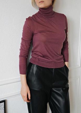 Шерстяное легкий свитер с высоким воротом zara