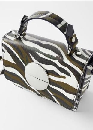 Разноцветная новая сумочка zara c камуфляжным принтом зара