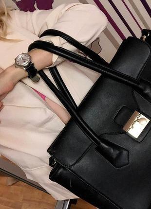 Большая деловая сумка чёрного цвета. стиль и качество. украина