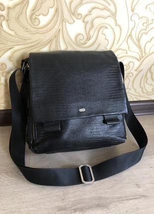 Кожаная чёрная мужская сумка портфель брендовая оригинал