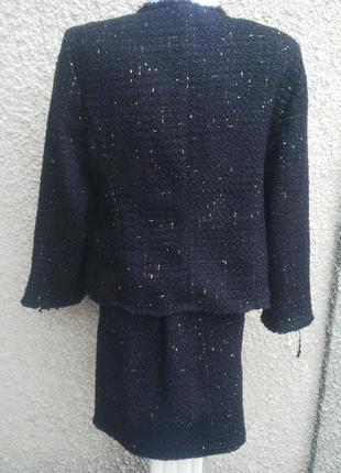 ... Костюм черного цвета с вкраплениями золотой нити(юбка+жакет)стиль шанель  с бахромой ... b8b9bdc4e31