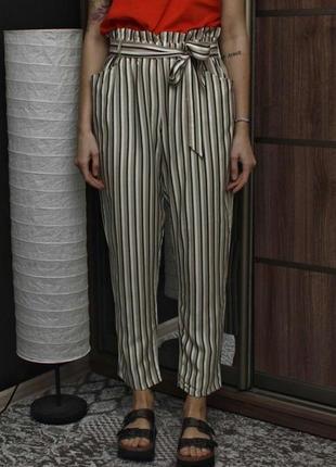 Красивые натуральные  брюки в полоску,большой размер