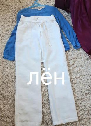 Актуальнве на лето льняные белые брюки с поясом ,street  one, p. 36