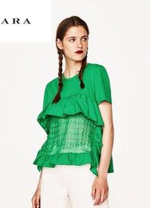 Очень красивый топ, блуза, кофта с коротким рукавом zara, m