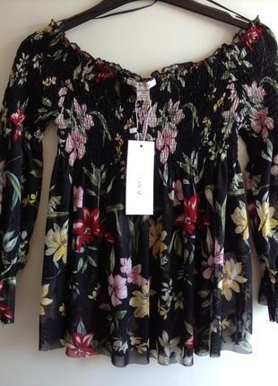 Цветочная блузка топ сетка с открытыми плечами amisu xs