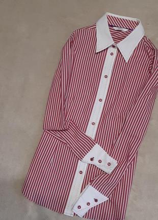 Блузка-рубашка силуэт в полоску  размер 12-14 marks & spencer