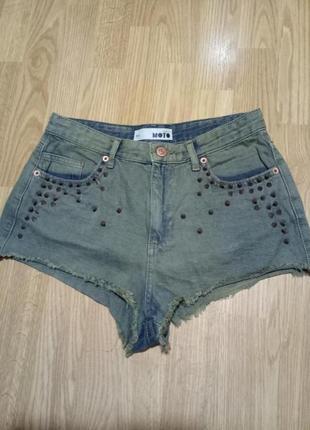 Супер секси джинсовые шорты  милитари хаки шипы  клепки s-m