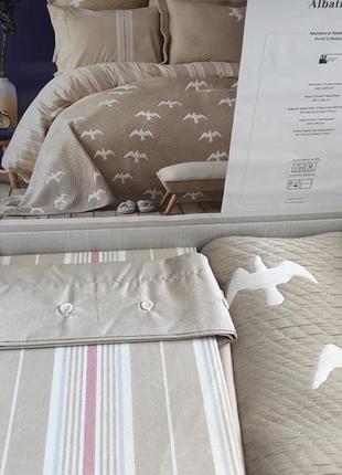 Набор постельное белье с покрывалом karaca home - albatros бежевый евро птицы