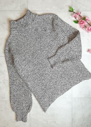 1+1=3 фирменный серый плотный свитер h&m оверсайз с объемными рукавами, размер 44 - 46