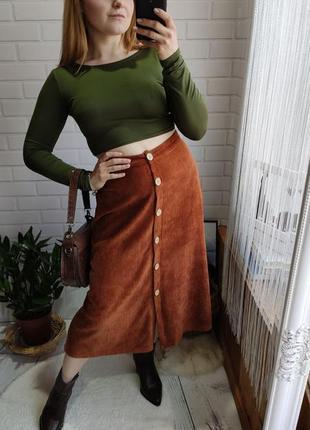 Трендовая вельветовая миди юбка с пуговицами pull & bear
