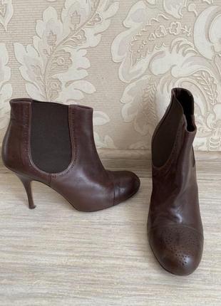 Etro италия оригинал дизайнерские коричневые кожаные ботинки челси