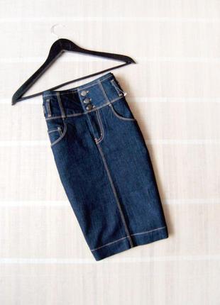 Джинсовая миди юбка lindex с завышенной талией