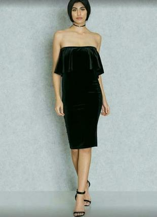 Велюровое черное элегантное платье,