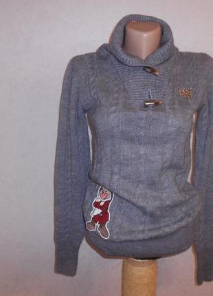 Fixdesign стильный джемпер свитер с аппликацией disney, шерсть, италия, р.s