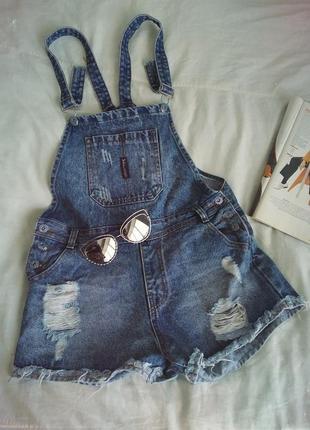 Трендовый джинсовый комбинезон,ромпер,с шортами,рваный, актуальный,denim
