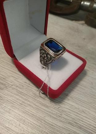 Перстень. серебро 925пробы. золотая напайка.