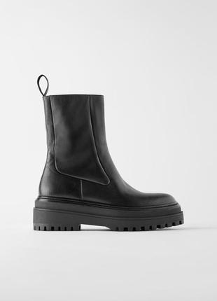 Zara leather черные ботинки милитари масивние