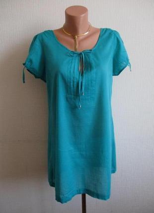 Хлопковая фактурная блуза-туника marks&spencer