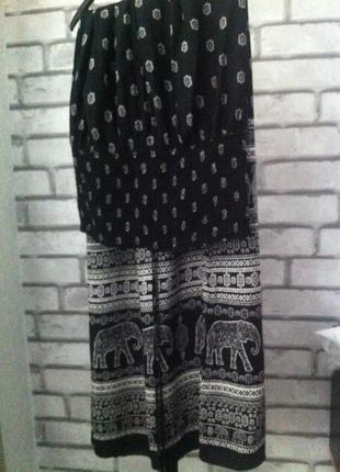 Сарафан длинный или юбка принт слоны камбоджа