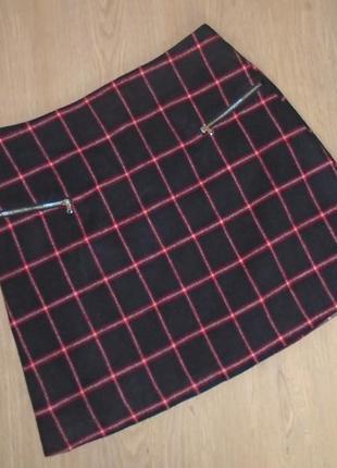Теплая юбка-трапеция в клетку/спідниця-трапеція в клітинку/мини/міні