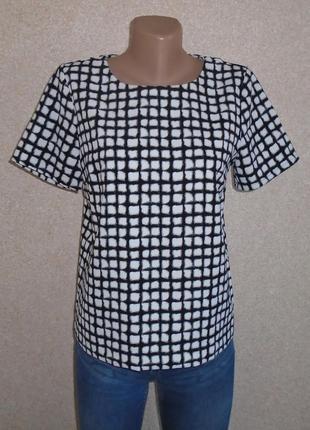 Черно-белая блуза в шашку/футболка нарядная/блузка чорно-біла