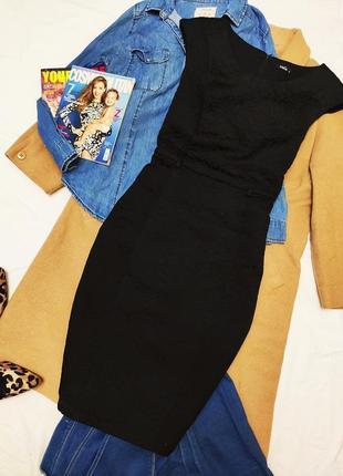 M&co чёрное платье миди футляр карандаш на подкладке плотное классическое