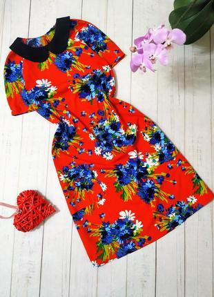 Платье цветочное красное с карманами atmosphere.