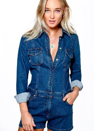 Распродажа! джинсовый комбинезон с шортами boohoo c cайта