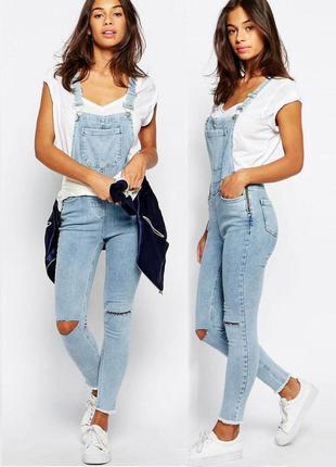 Распродажа! выбеленный джинсовый комбинезон new look с необработанной кромкой с asos