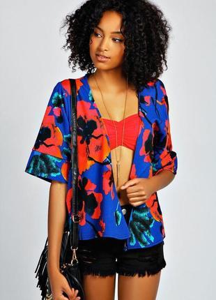Крутой пиджак кимоно из фактурной ткани boohoo m новый