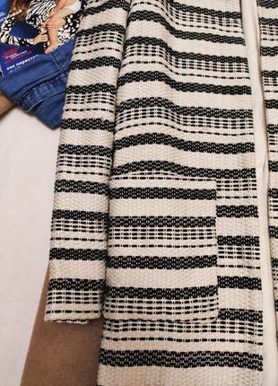 Кардиган без застёжек черный белый миди с большими карманами на подкладке h&m2 фото