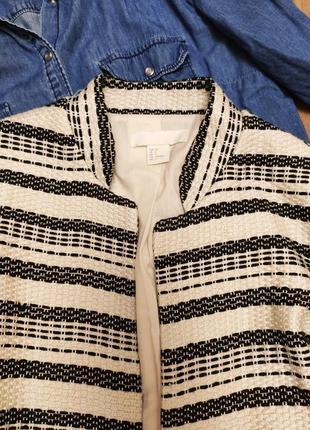 Кардиган без застёжек черный белый миди с большими карманами на подкладке h&m3 фото