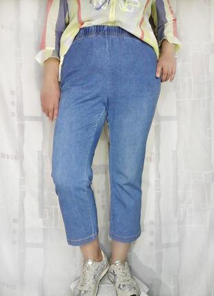 Комфортные летние джинсы на резинке, 98% хлопка