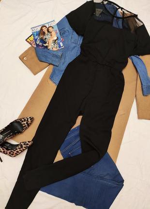 Комбинезон брючный черный большой батальный свободный с сеточкой и карманами