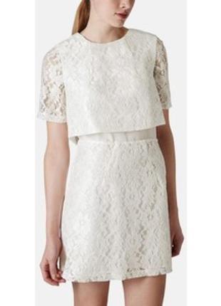 Белое платье кружевное нарядное с золотой молнией накидкой на подкладке топшоп