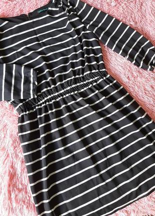 Платье полосатое платье весна лето трапеция рукав 7/8 р.м оверсайз